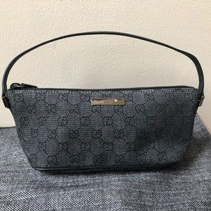 477ba8f3aa3215 Gucci Black Leather GG Monogram Canvas Pochette
